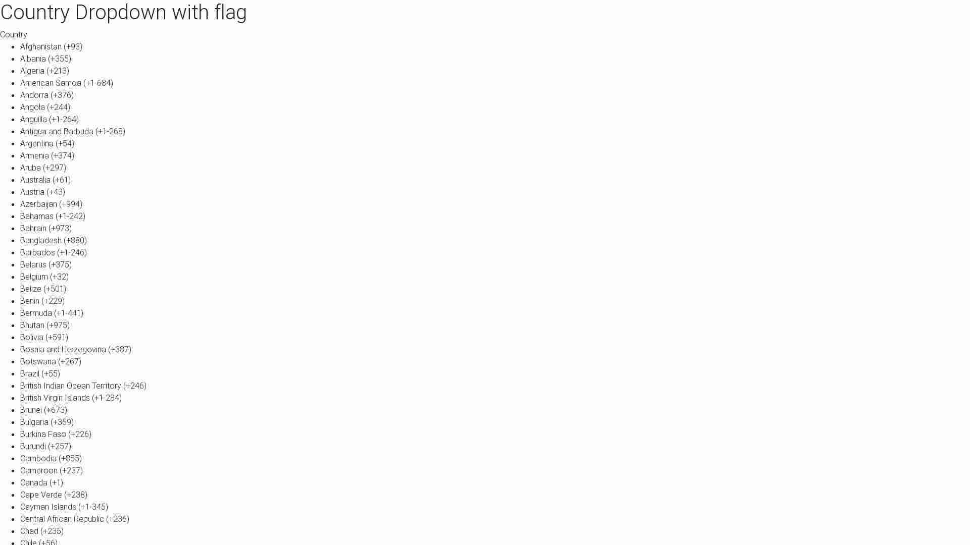 Forked from - Country list & flags