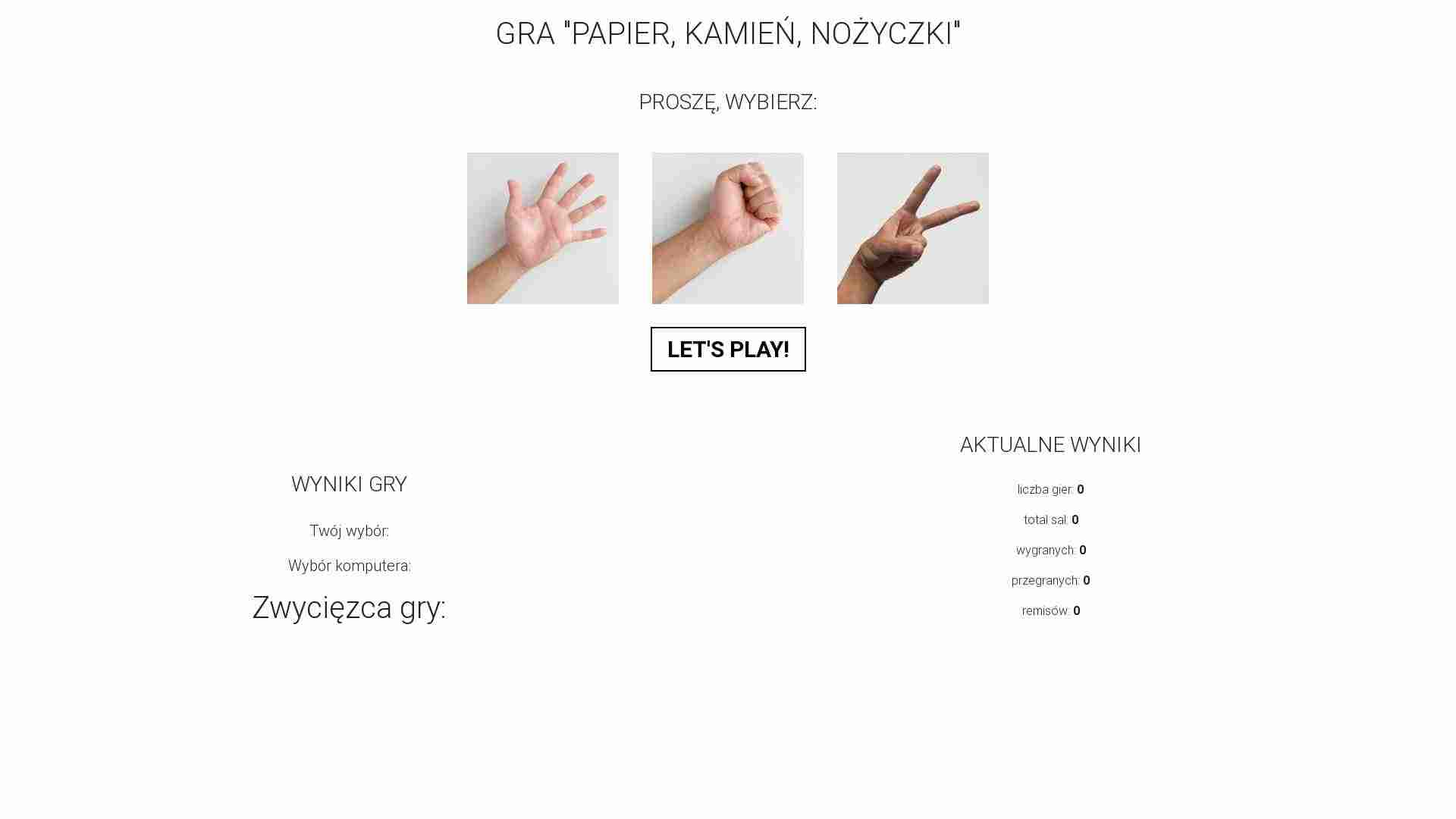Paper, Rock, Scissors game - play with an intelligent opponent