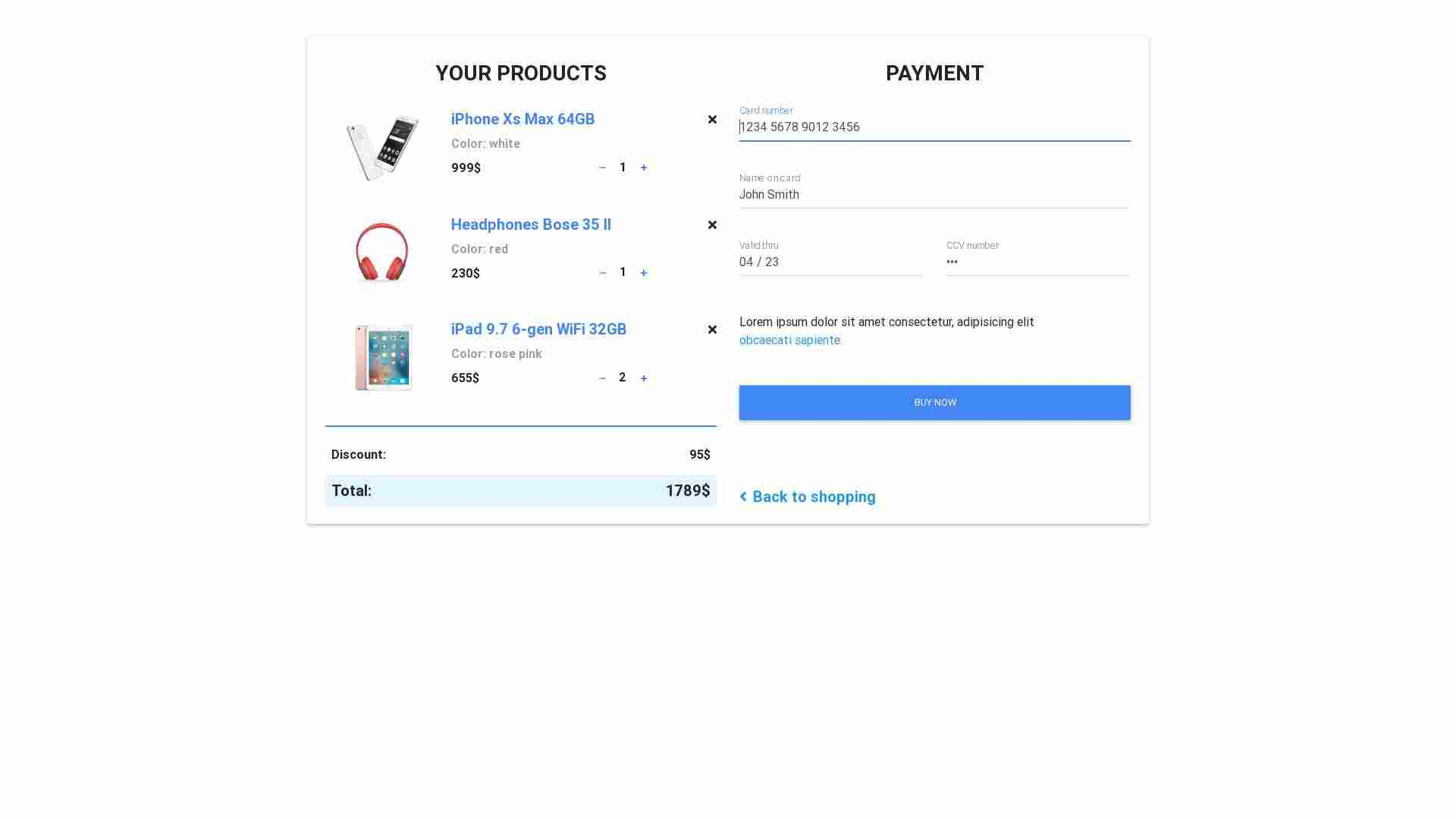 Forked from - Bootstrap Shopping Card Form