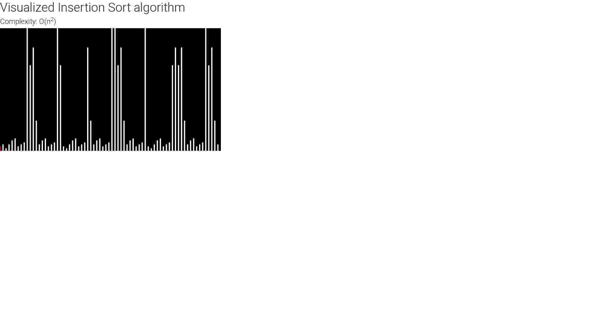 Visualization of Insertion Sort with p5.js