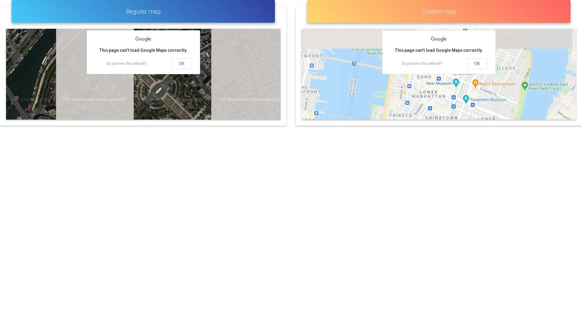 Example usage of Google Maps