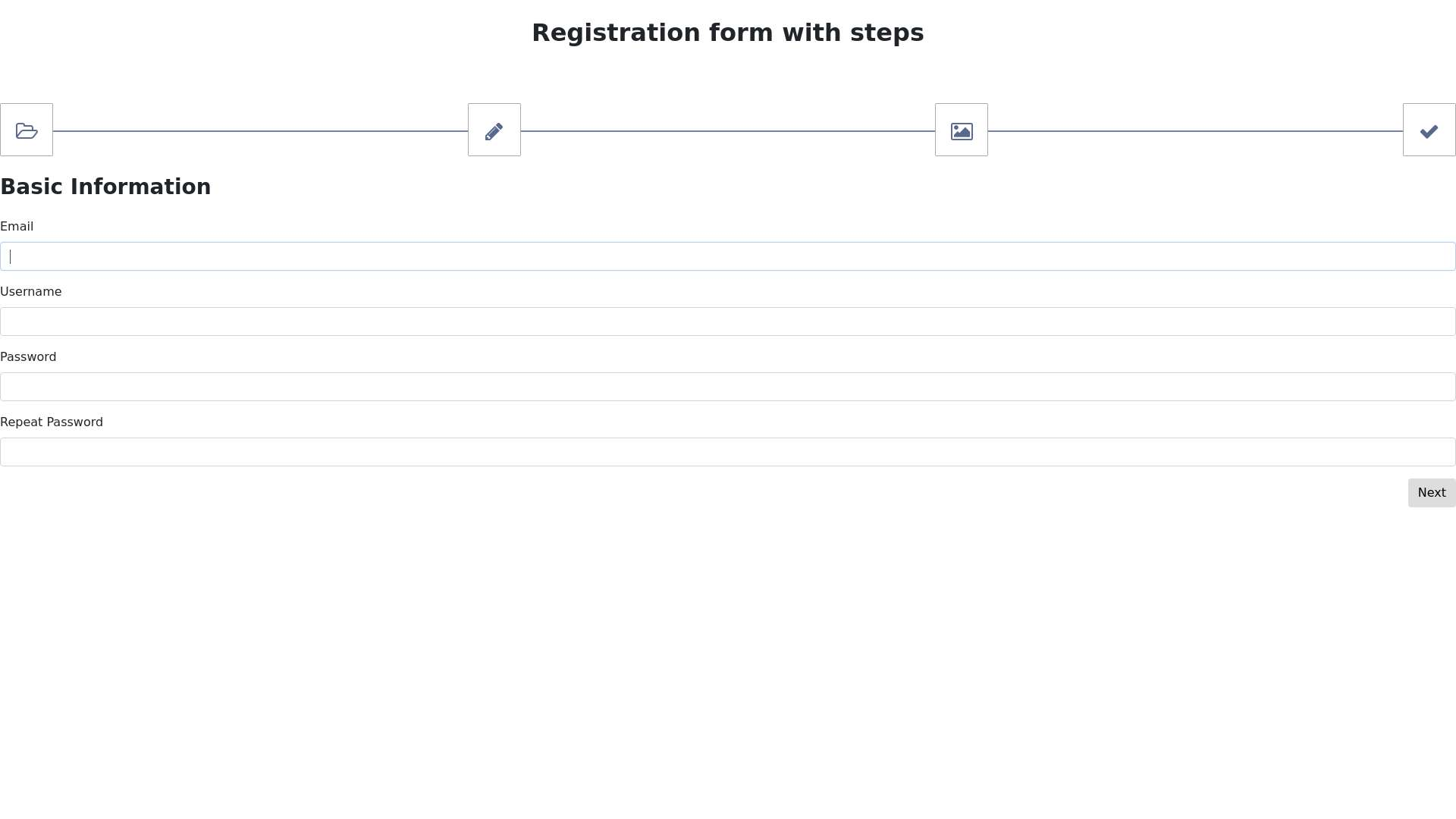 Registration form with steps