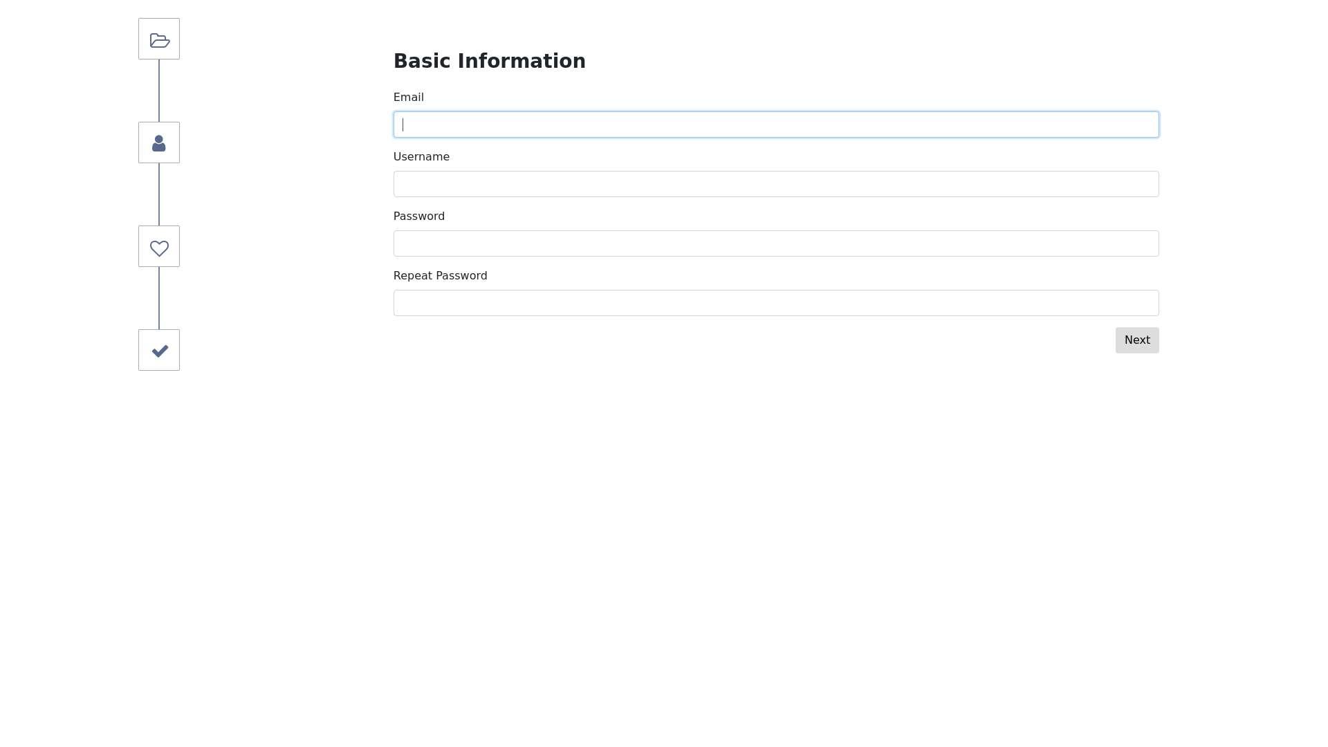 Vertical registration form steps