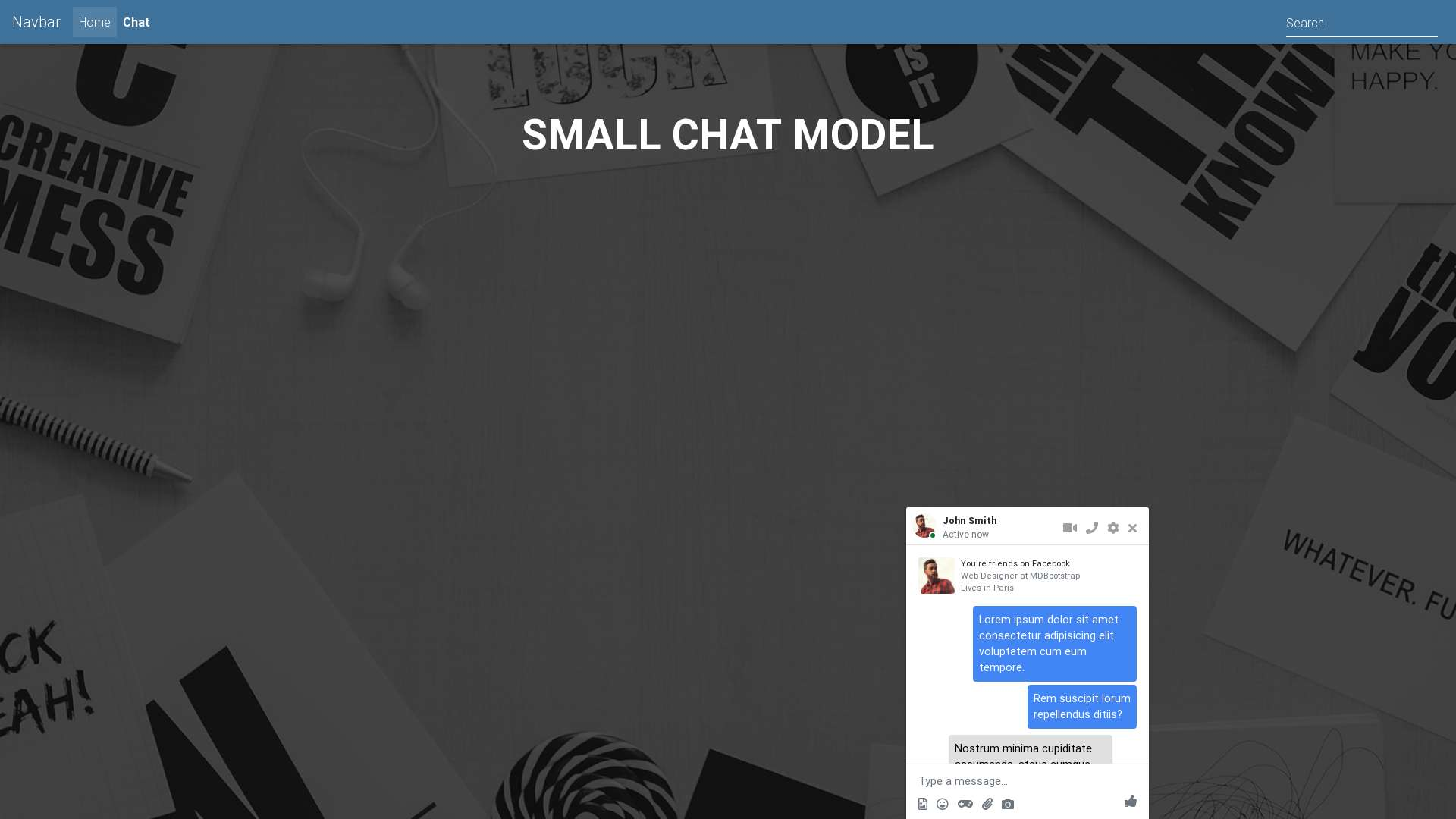 Small chat - model - Material Design for Bootstrap