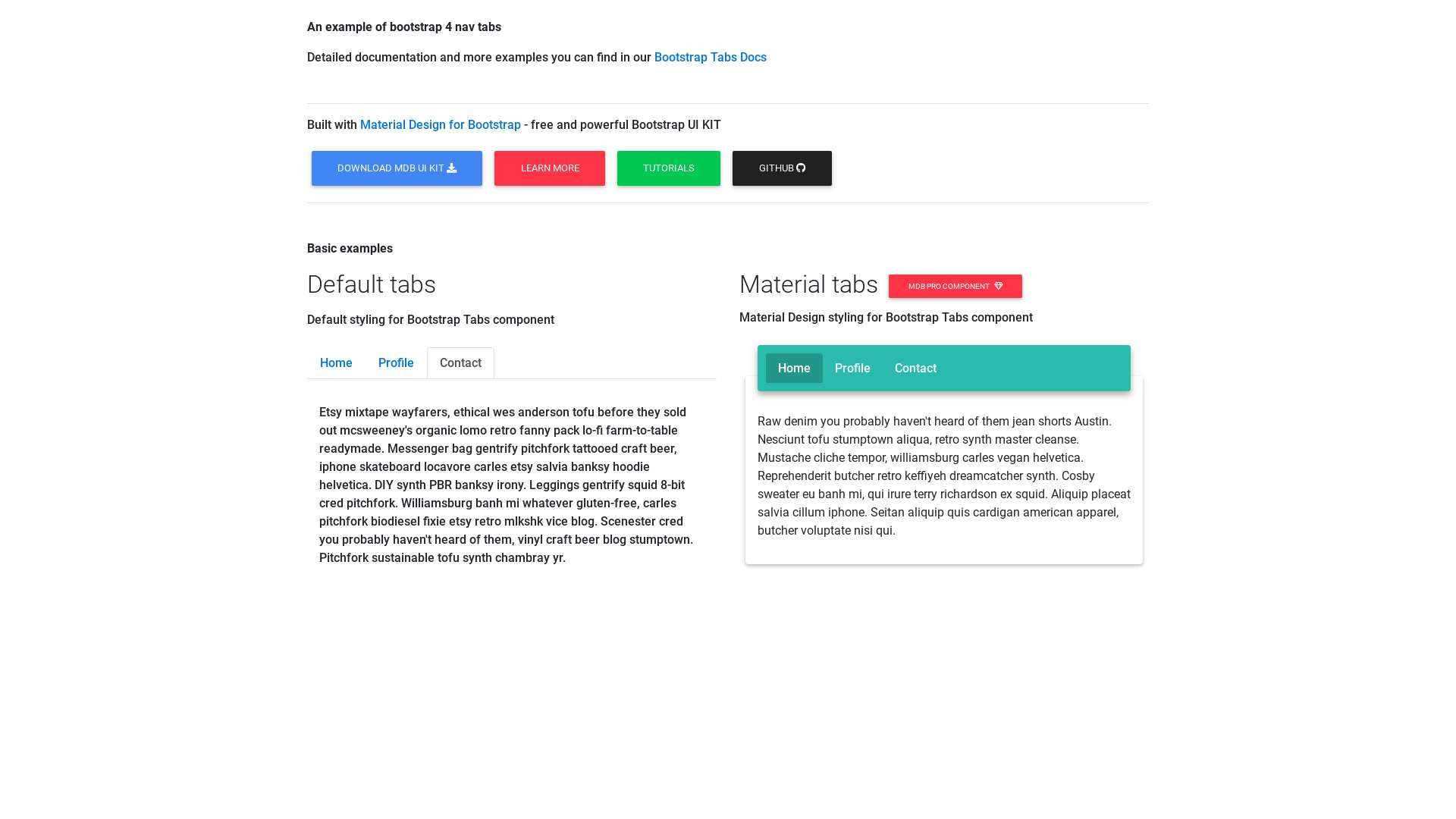 bootstrap 4 nav tabs example - Material Design for Bootstrap