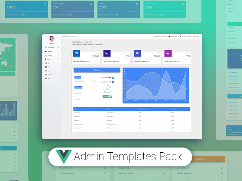 Vue Admin Bootstrap - Free Vue.js Templates Pack