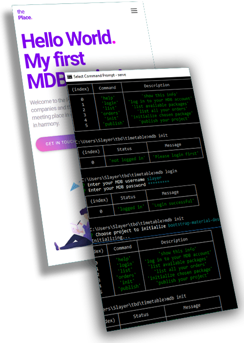 MDB Magazine Template displayed on an iPhone