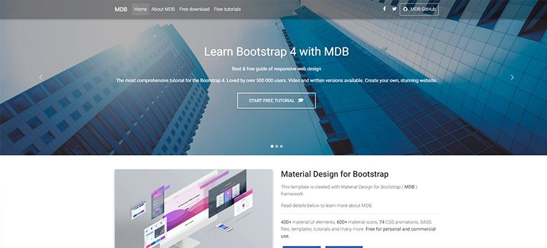 Landing Page Free Template Bootstrap Material Design - Bootstrap landing page template