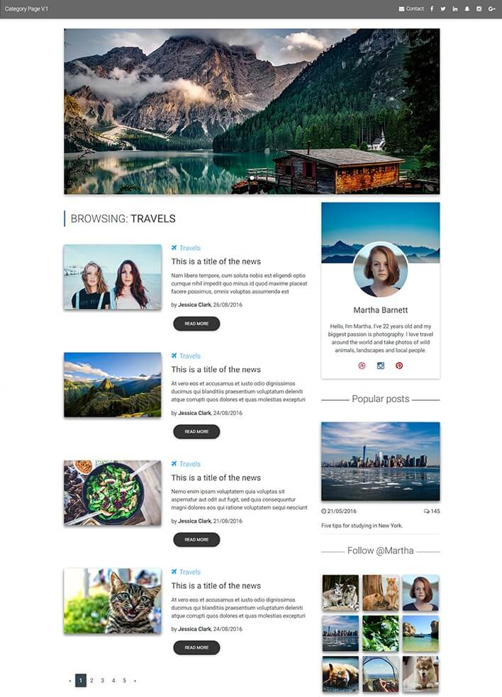 Material Design for Bootstrap Magazine Template