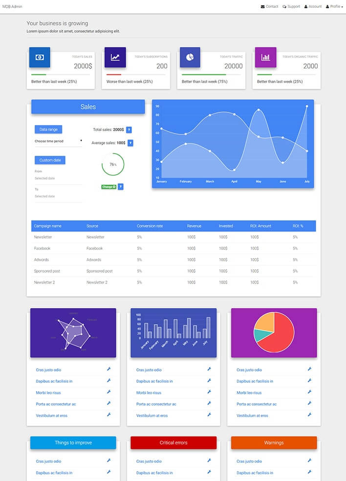Material Design for Bootstrap Admin Dasboard Template