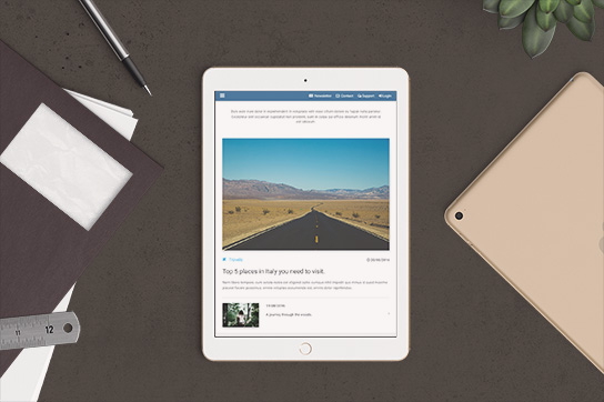 Post Page mockup - Material Design for WordPress