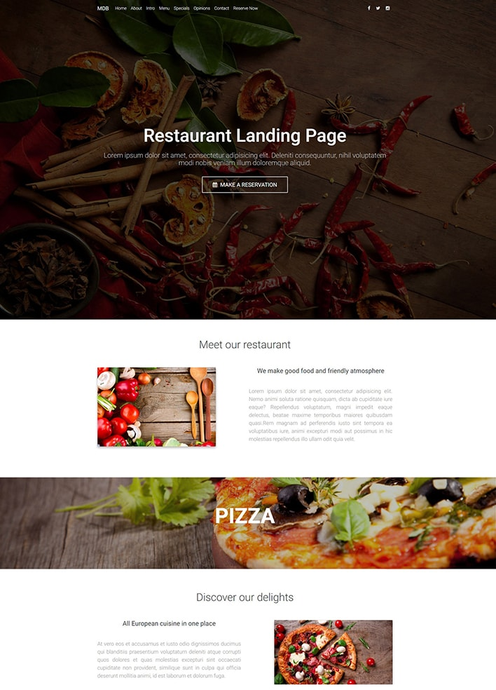 Restaurant Landing Page - Material Design for WordPress