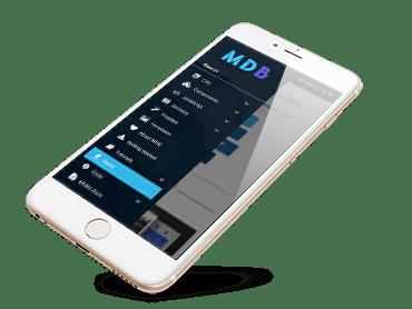MDB website displayed on iPhone
