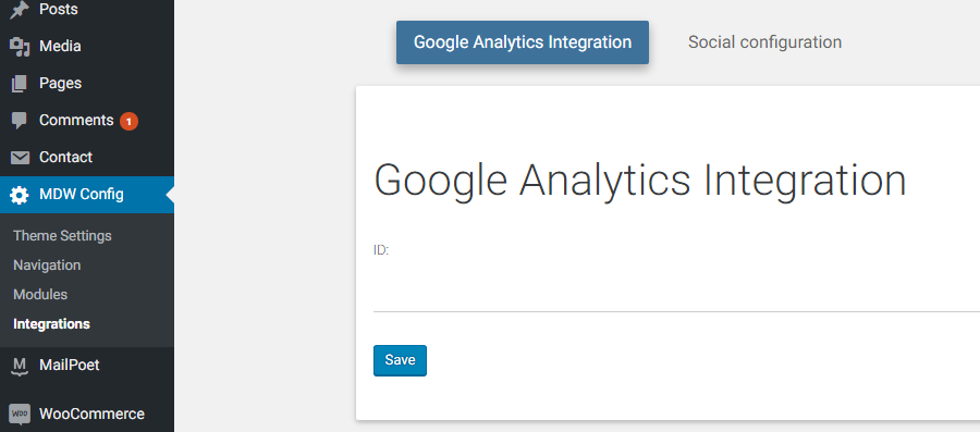 Material Design for WordPress - Google Analytics integration