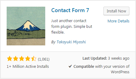 Contact form plugin - WordPress view
