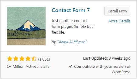 Contact form plugin - WordPress view