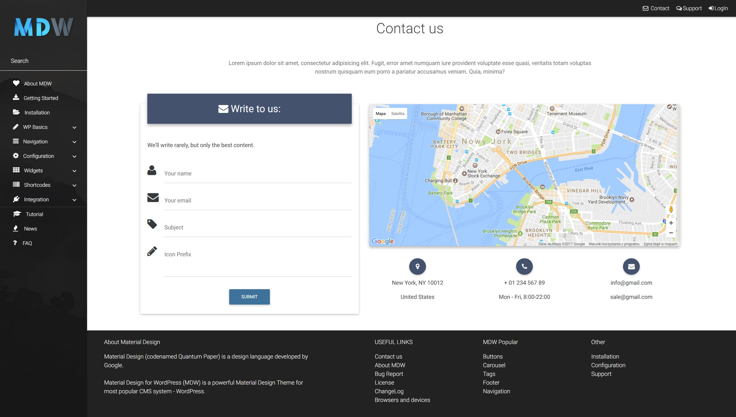Contact widget version 1 - Material Design for WordPress