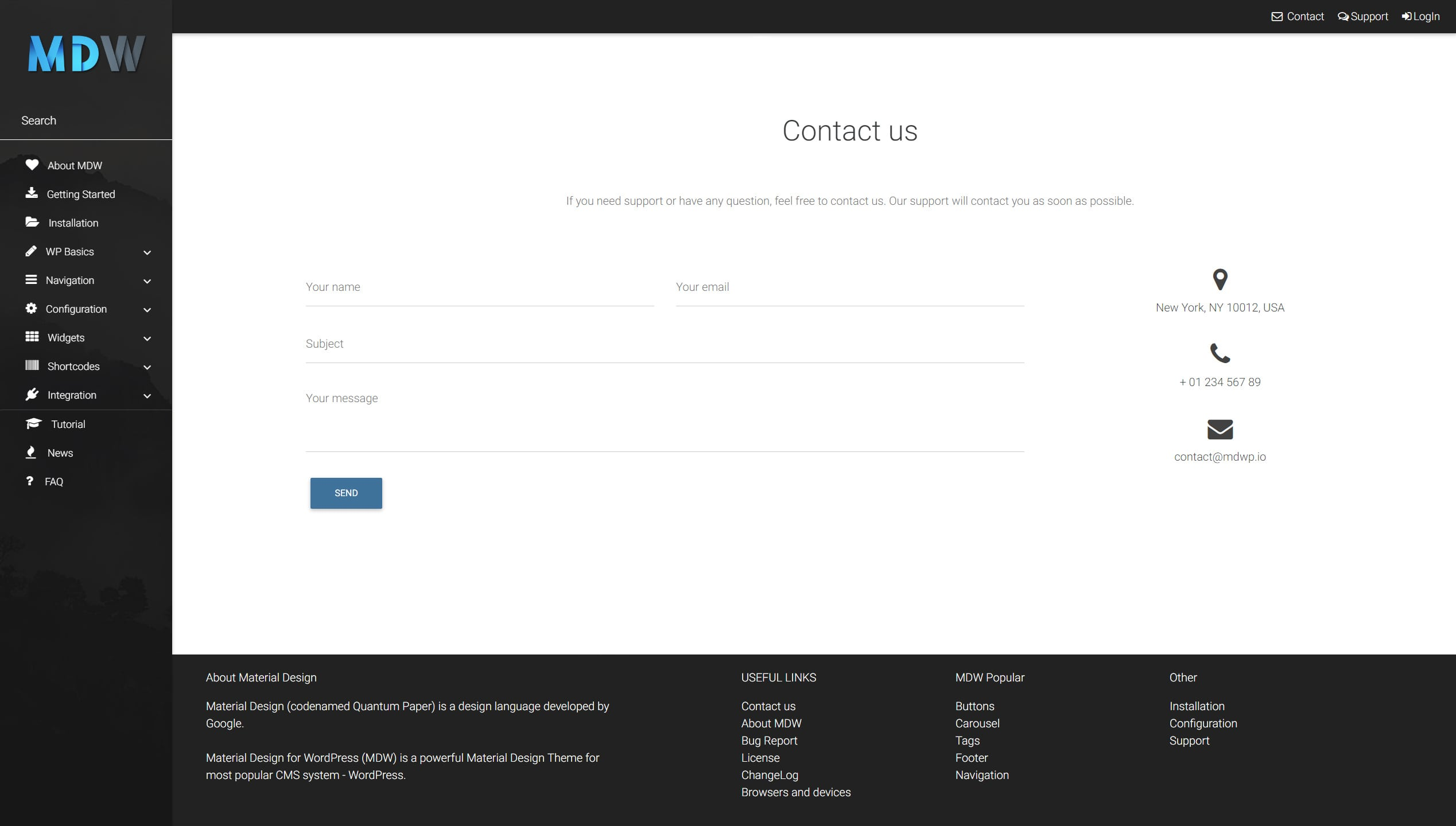 Contact widget version 2 - Material Design for WordPress