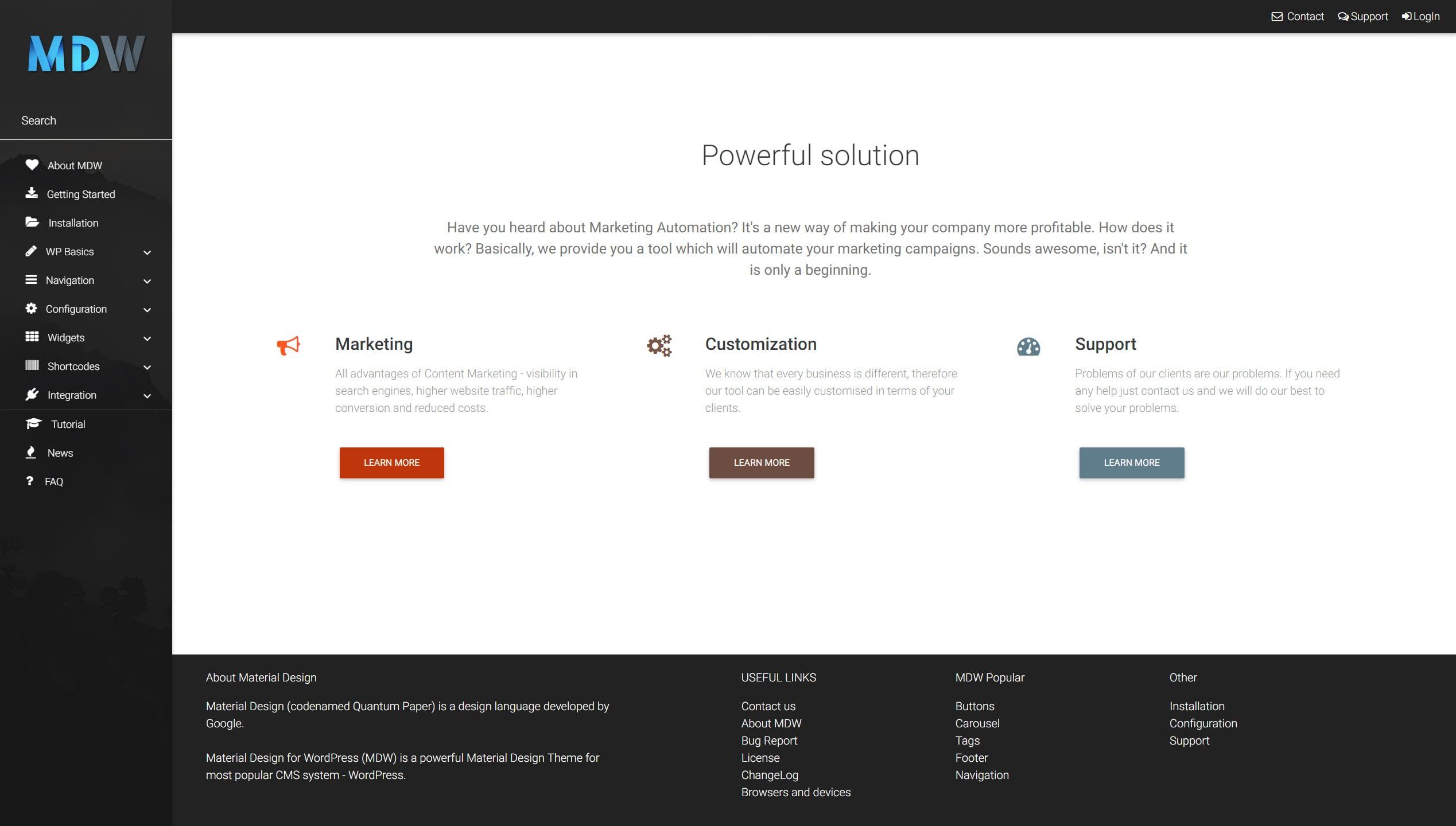 Features widget version 2 - Material Design for WordPress