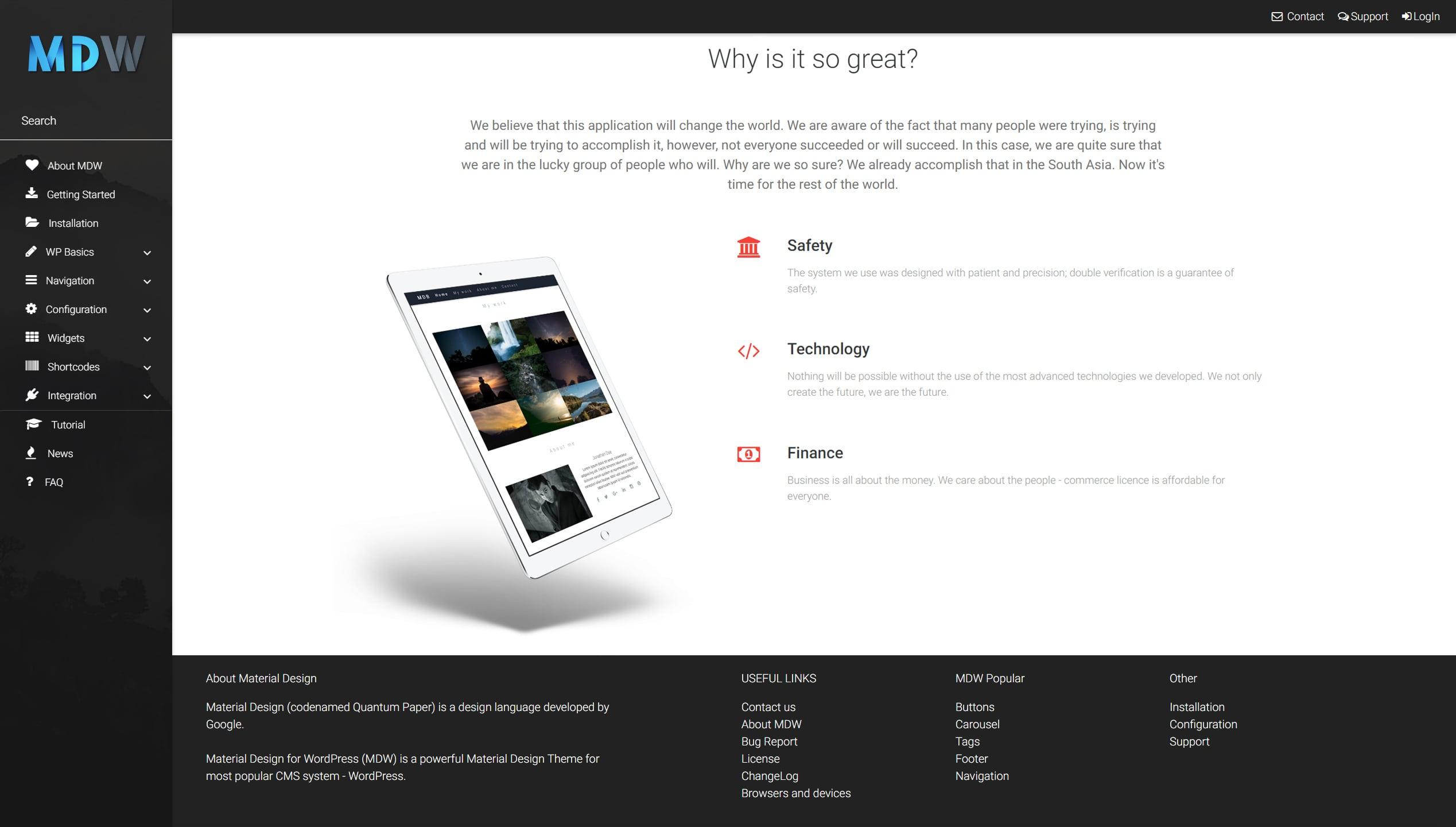 Features widget version 3 - Material Design for WordPress