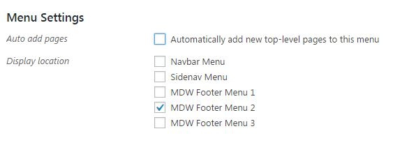 Footer's display location select - Material Design for WordPress