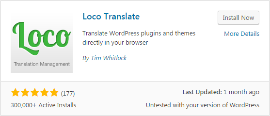 Loco Translate plugin - WordPress view