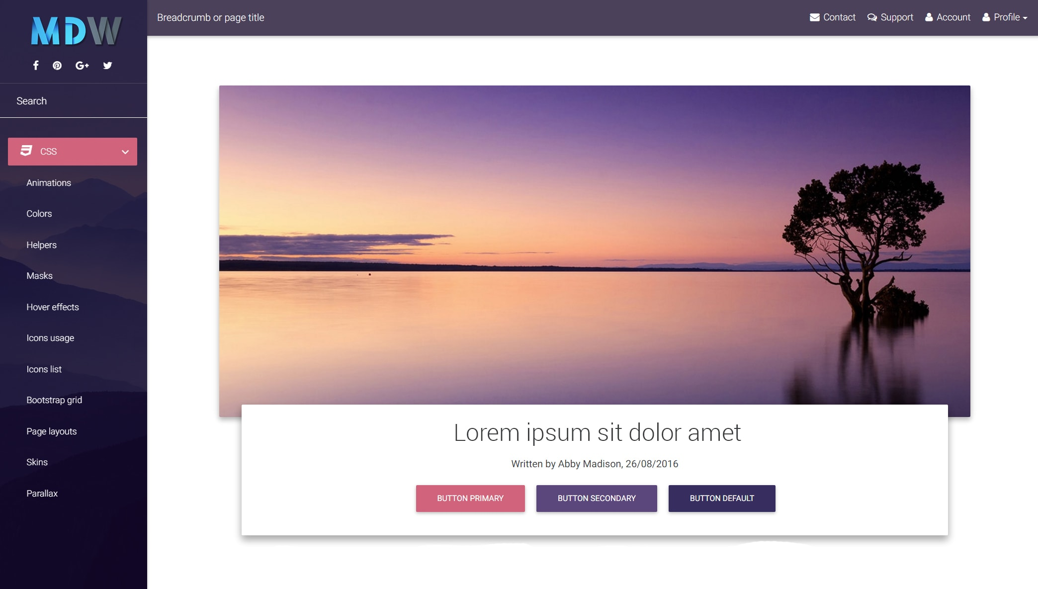 Deep purple skin - Material design for WordPress