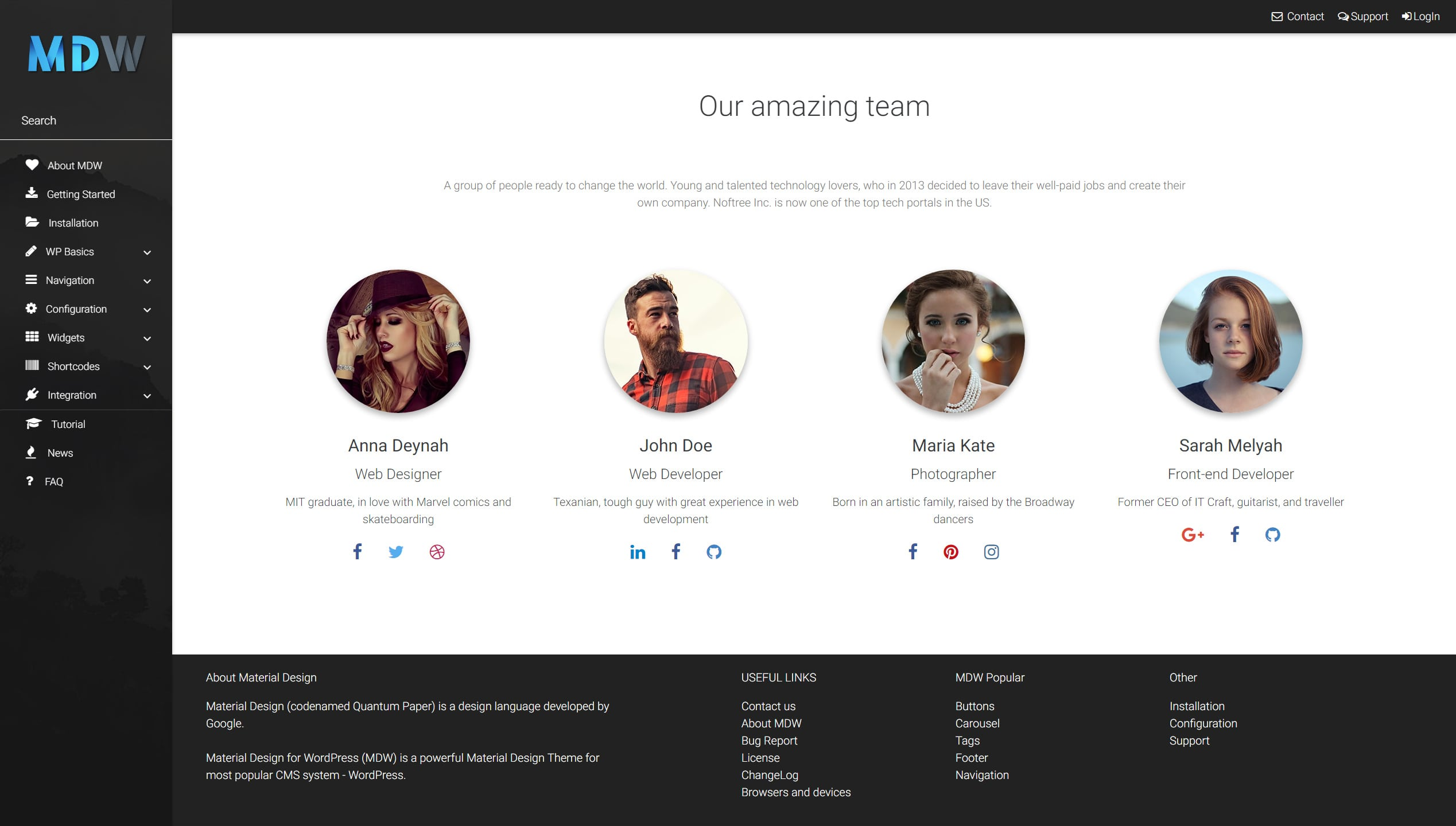 Team widget version 1 - Material Design for WordPress