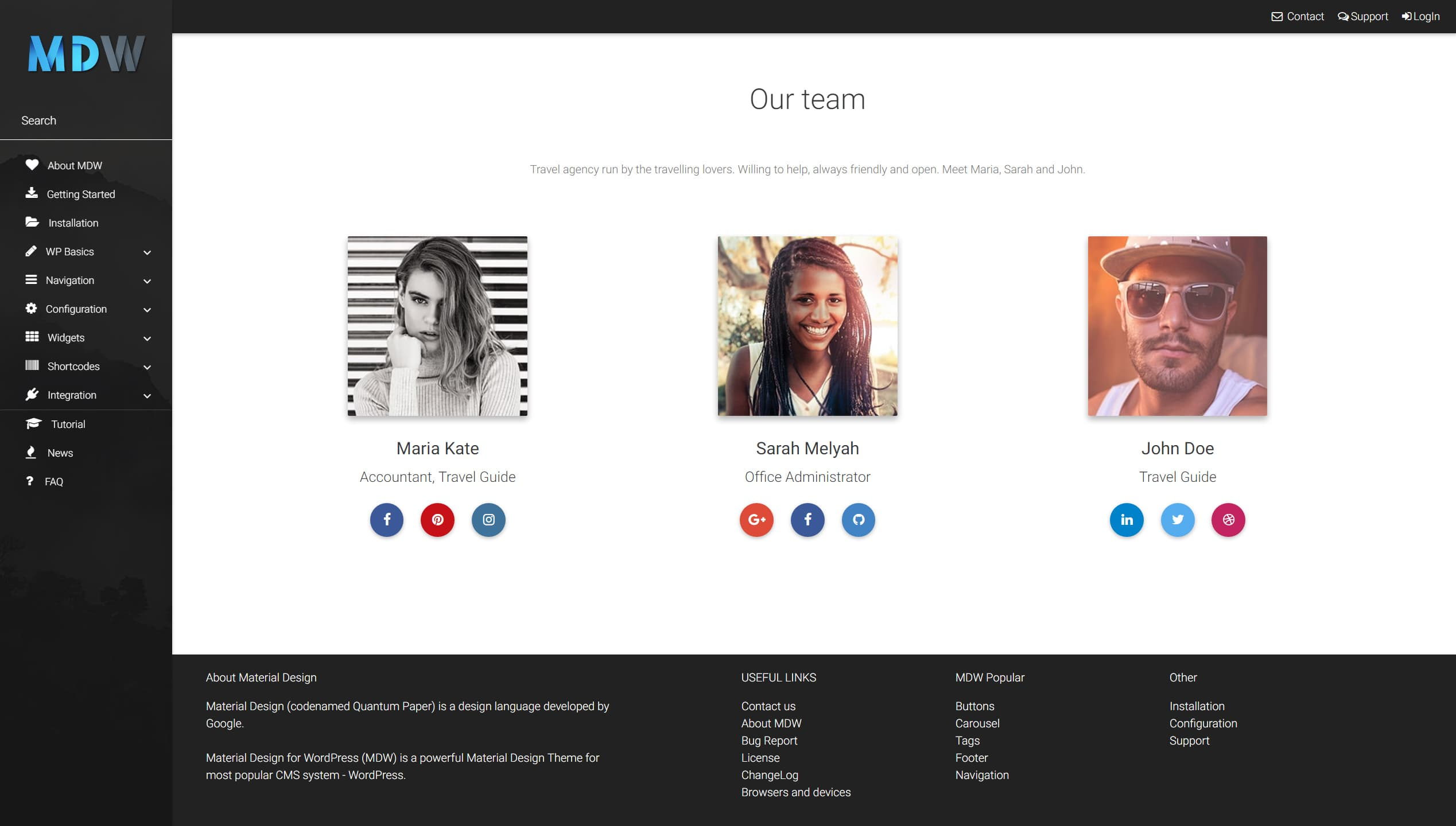 Team widget version 2 - Material Design for WordPress