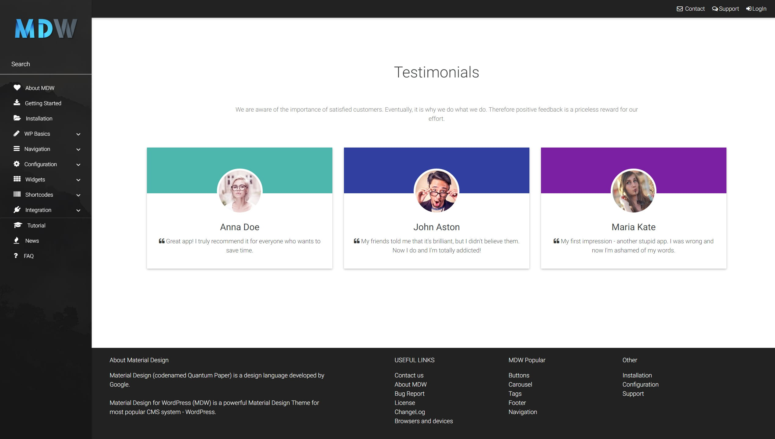 Testimonials widget version 1 - Material Design for WordPress
