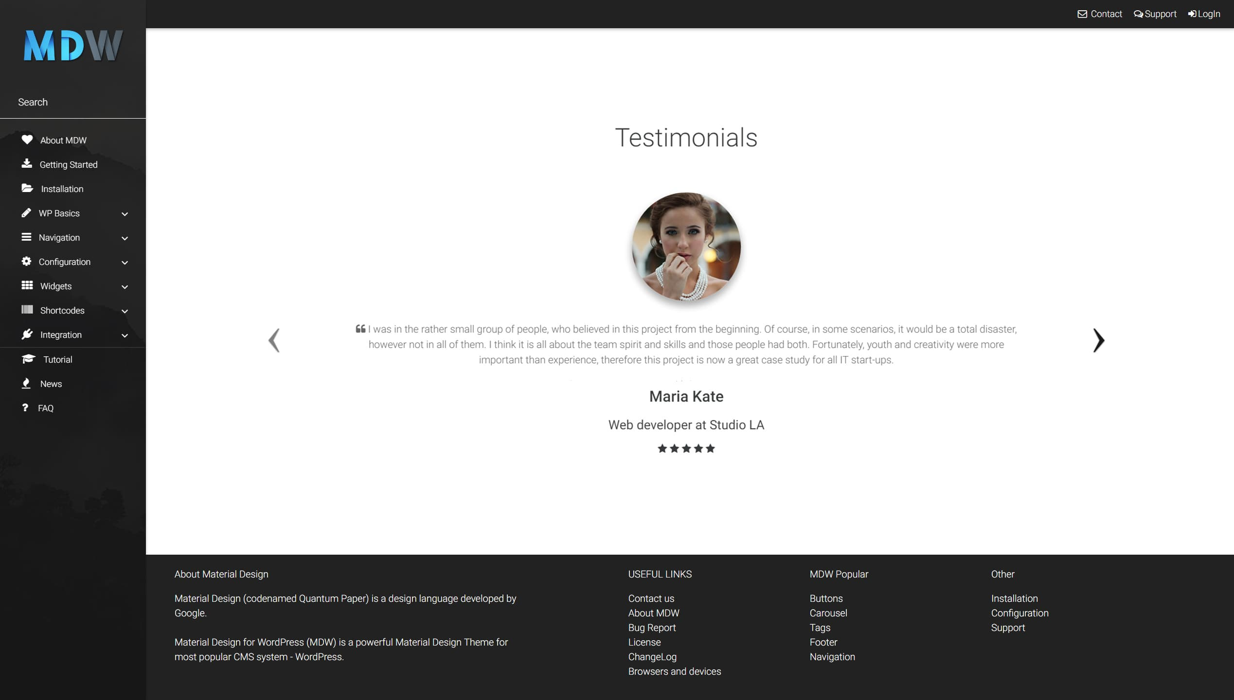 Testimonials widget version 2 - Material Design for WordPress