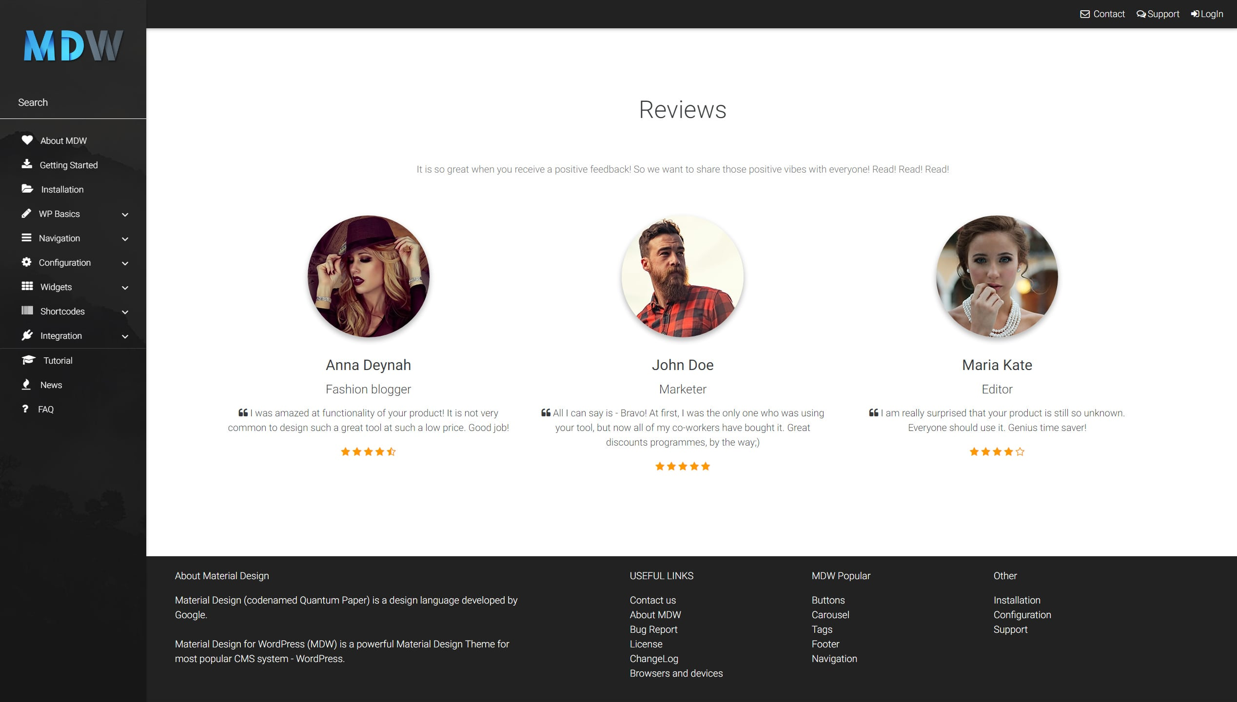 Testimonials widget version 3 - Material Design for WordPress
