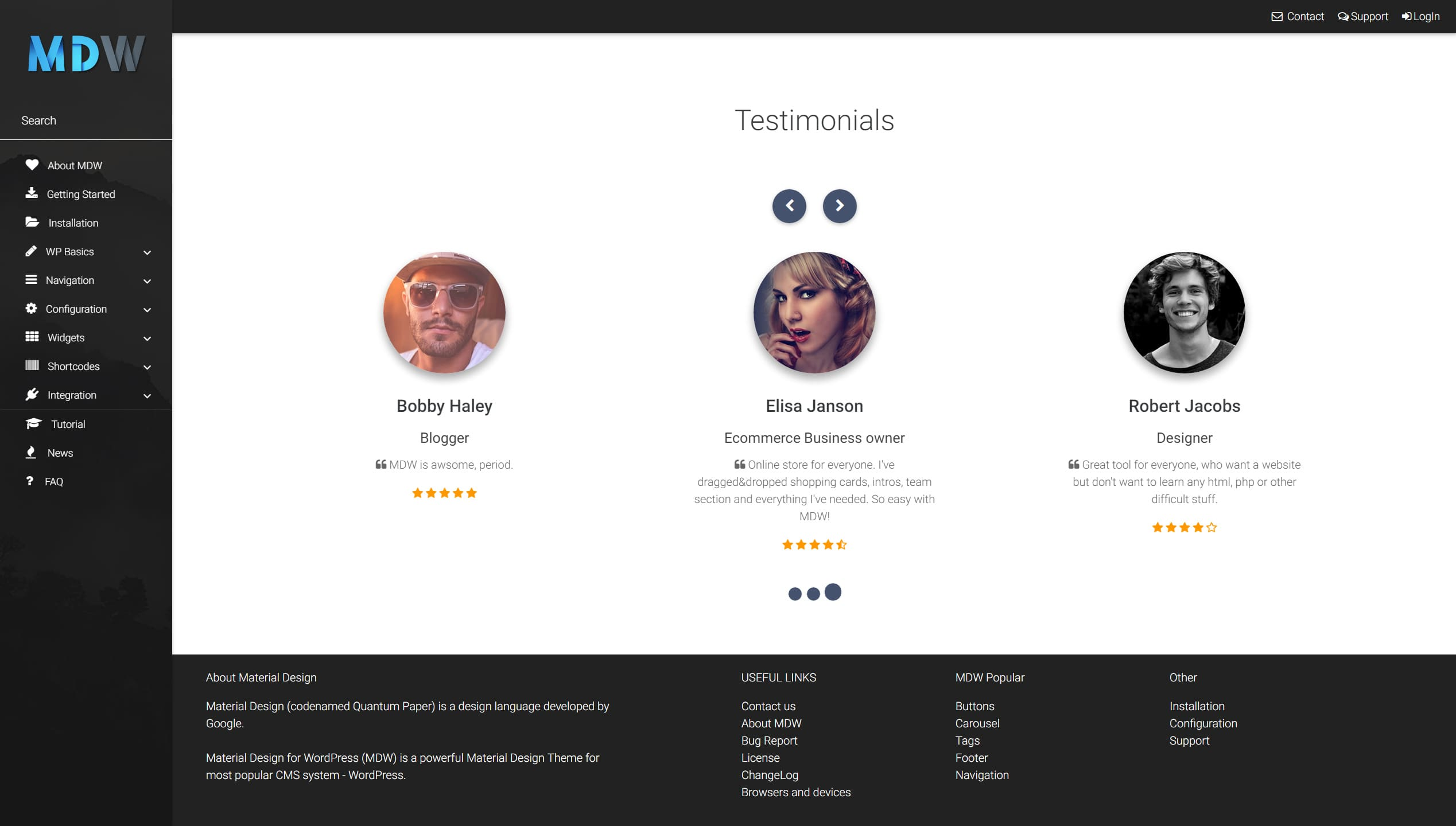Testimonials widget version 4 - Material Design for WordPress