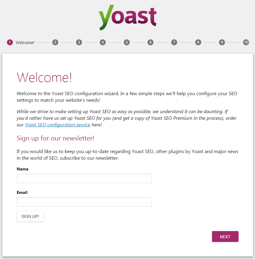 Yoast SEO - configuration screen