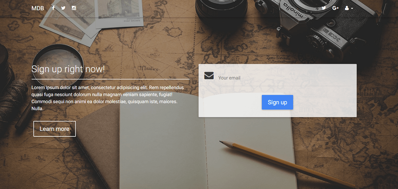 Display of intro page with a minimalistic form