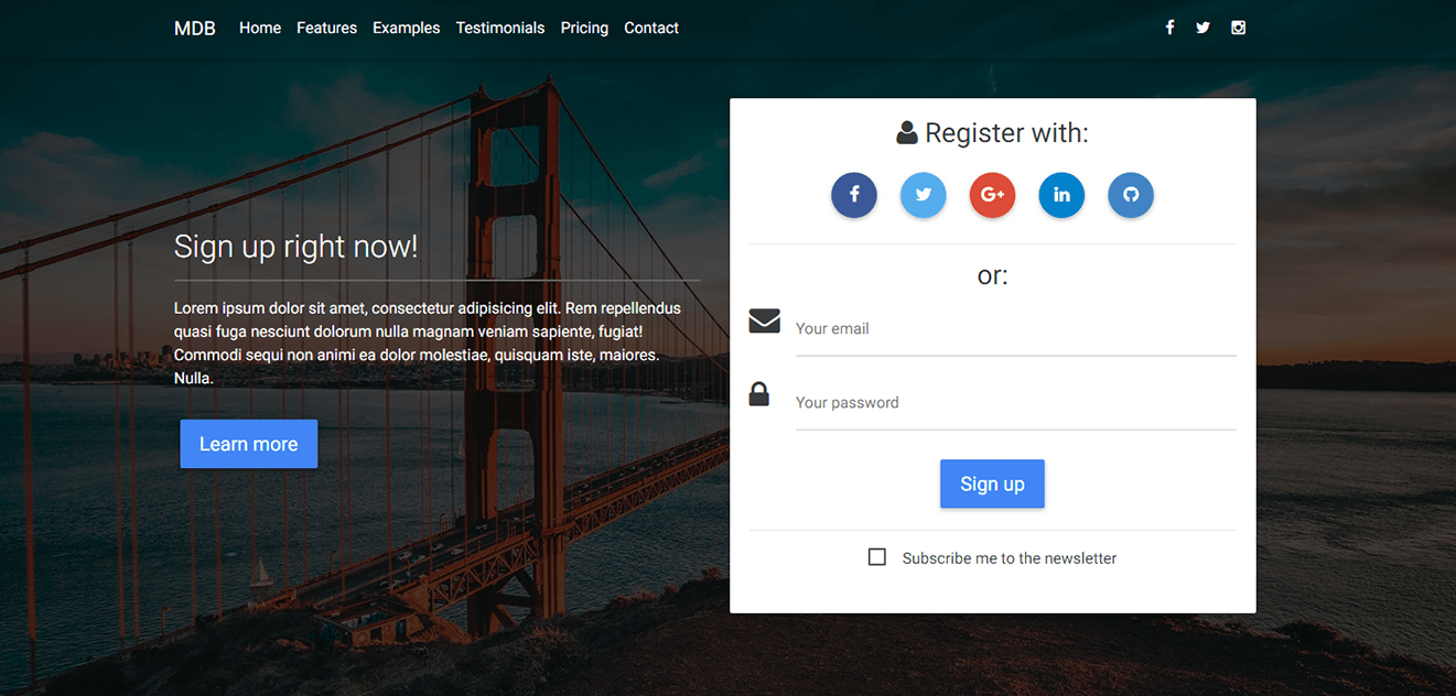 Display of intro page with social register form