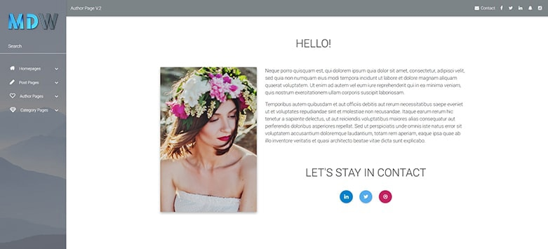 Author Page - Material Design for WordPress