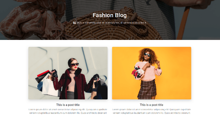Example eCommerce Blog Homepage