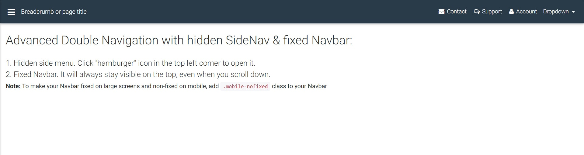 Display of double navigation with hidden SideNav & fixed Navbar