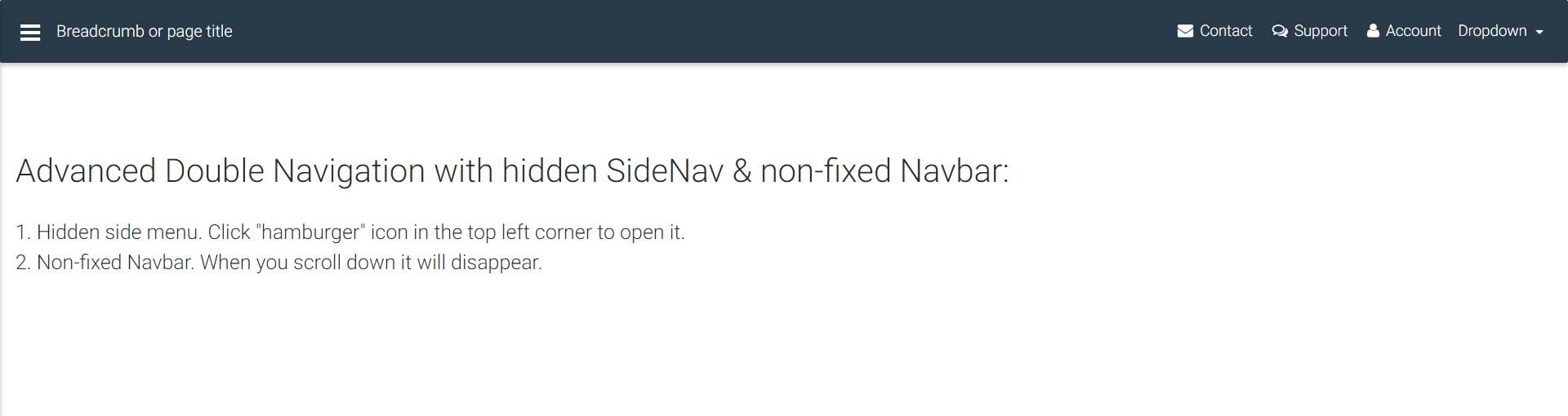 Display of double navigation with hidden SideNav & non-fixed Navbar