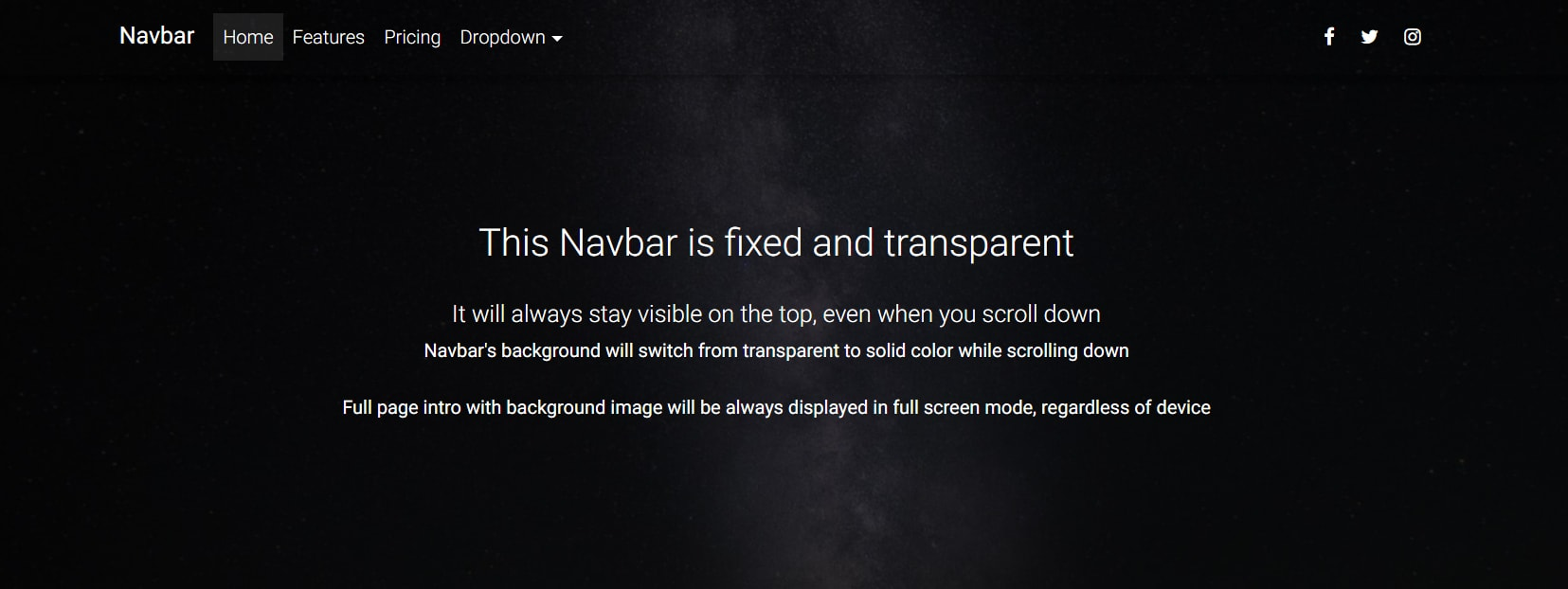 Full Page Intro website with fixed, transparent Navbar