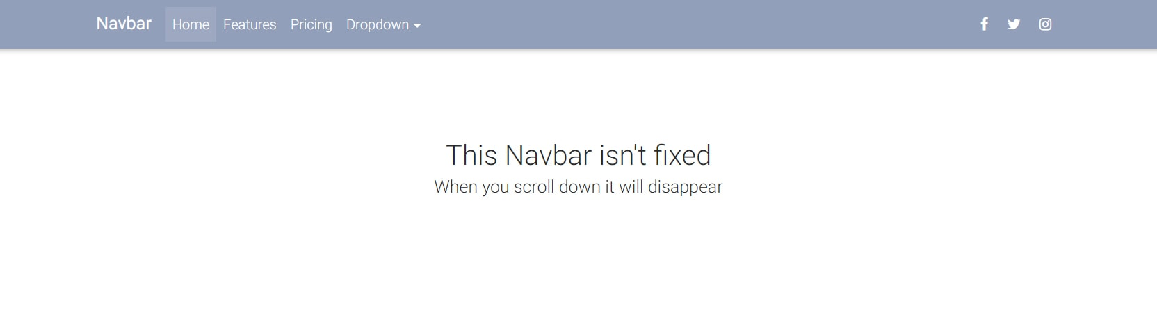 Website with a regular non-fixed Navbar.