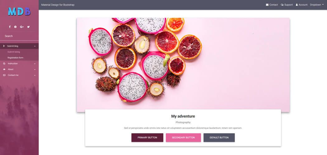 Material Design for Bootstrap pink skin