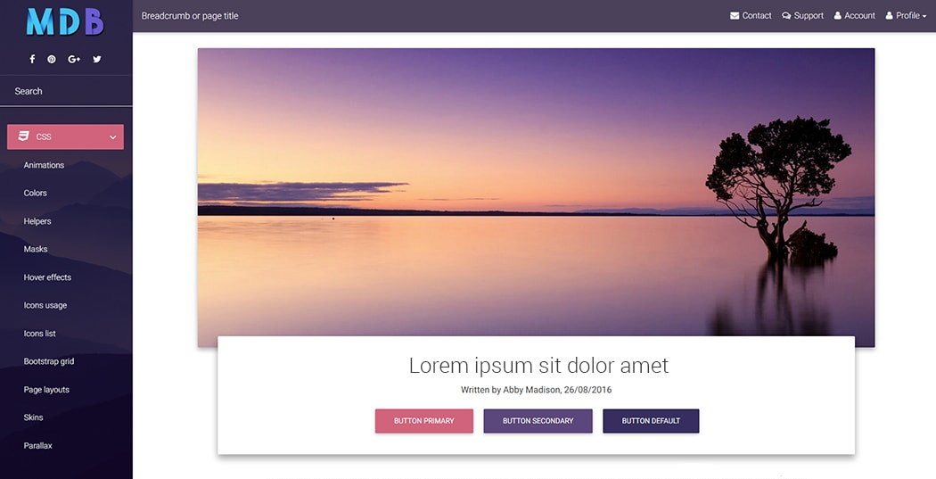 Basic MDB portfolio template with a deep purple skin.