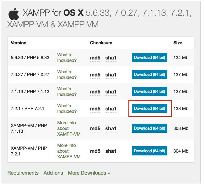 Download XAMPP for macOS
