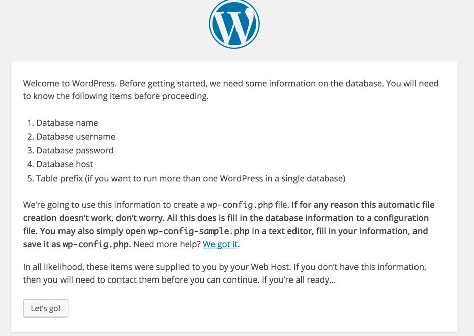 WordPress installation screen