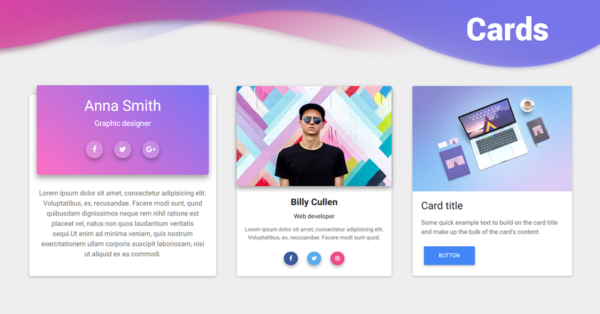 bootstrap cards examples tutorial basic advanced usage material design for bootstrap