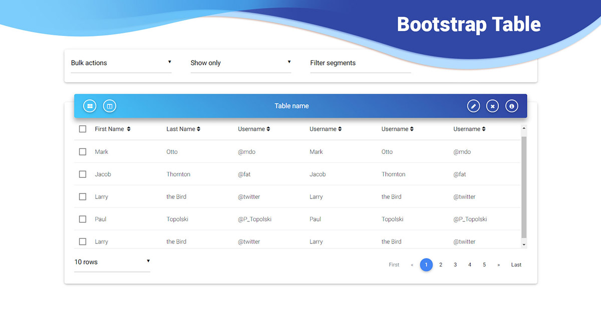 React Tables - Bootstrap 4 & Material Design  Examples & tutorial