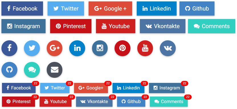 Angular Bootstrap Social Button - Bootstrap 4 & Material