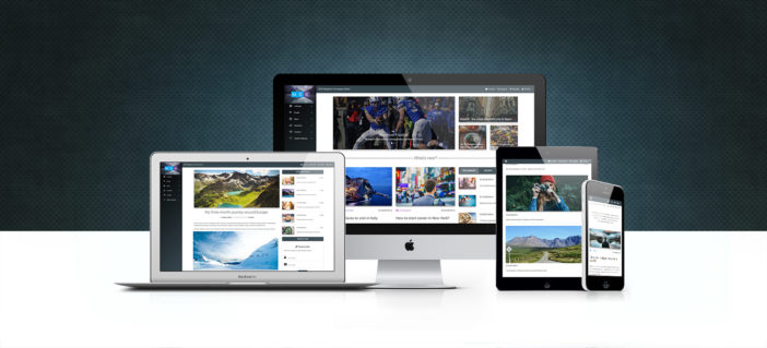 Example of Bootstrap magazine templates pack displayed on different devices.